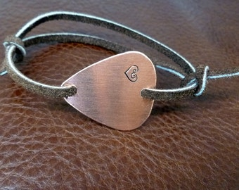 Hand Stamped Copper Guitar Pick Bracelet - Leather - Personalized
