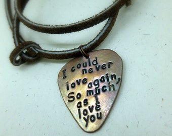Personalized Guitar Pick -Hand Stamped & Antiqued Copper Guitar Pick Necklace -  Men