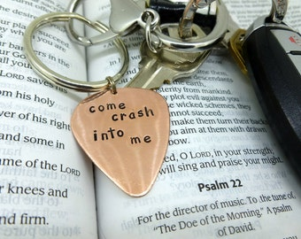 Guitar Pick Keychain - Hand Stamped Copper Guitar Pick Keychain - Dave Matthews Band - Come crash into me - DMB
