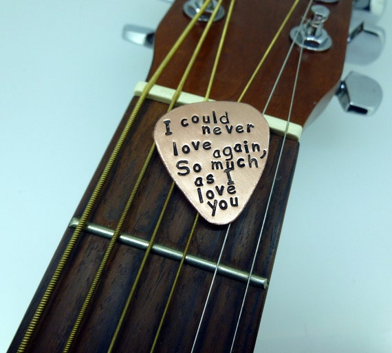 Guitar Pick - Hand Stamped Copper - Personalized- Men - Women - Unisex