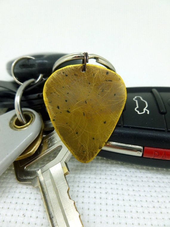 Guitar Pick Keychain - Brass Guitar Pick Keychain - Antiqued - For him - For her Great Gift!