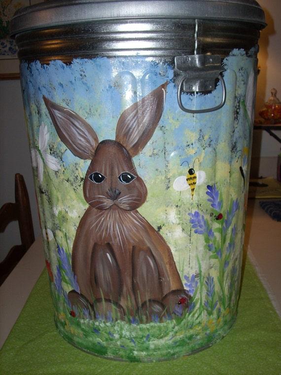 MADE TO ORDER  wonderful metal galvanized trashcan storage bin pet food holder etc.