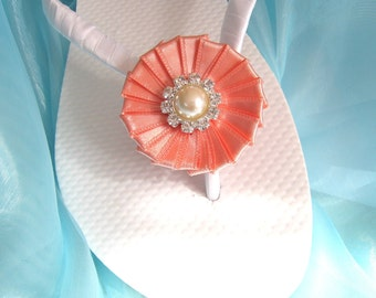 Salmon Pink Decorated Flip Flops / Bridal Wedding Flip Flops,Bridesmaids, Flower girls, Bridal Shower