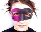 Asymmetrical Costume Mask Hot Pink and Black: Polymer Clay Skinner Blend
