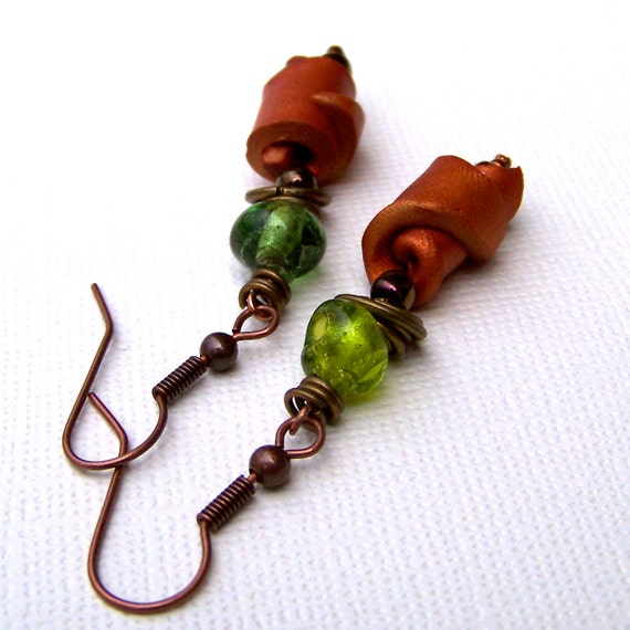 CLEARANCE Polymer Clay and Glass: Green and Gold Wrapped Earrings