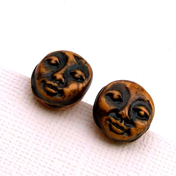 Small Antiqued Golden Faces Polymer Clay Stud Earrings