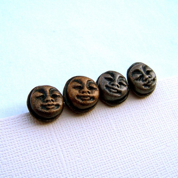 Sun and Moon Gold and Silver Studs: Polymer Clay Earrings Set
