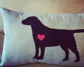 Chocolate Lab Love Applique Pillow