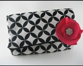 Foldover cotton clutch with pink flower and crystal button applique