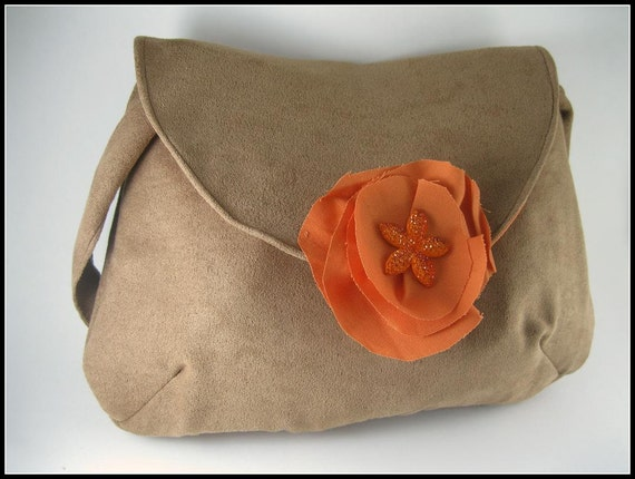 Over the shoulder bag Purse - Brown Suede with handmade Orange flower Applique / Purse / Bag