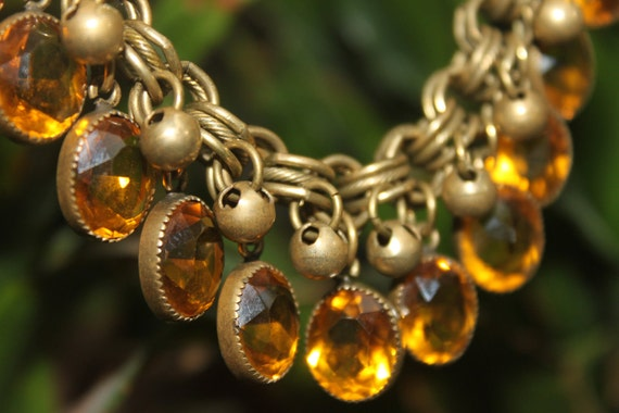 1930's Antique Faceted Citrine Necklace on Graduated Circle- Link Chain -tt team -vl team