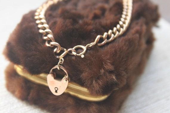 9k ROSE GOLD Edwardian Heart Padlock Charm Bracelet Spring Ring-VL Team