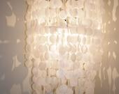 Handmade Faux White Capiz Shell Chandelier