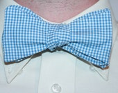Men's Royal Blue and White Mini Gingham  Bow Tie (Neck Size 13-16)