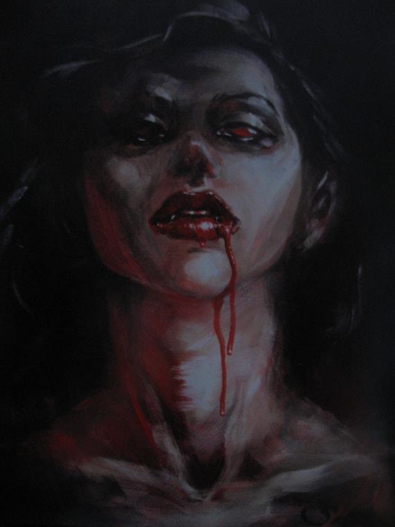 "Satiety (Vampire Girl) - Print of Original Painting, matted to 11"" x 14"""