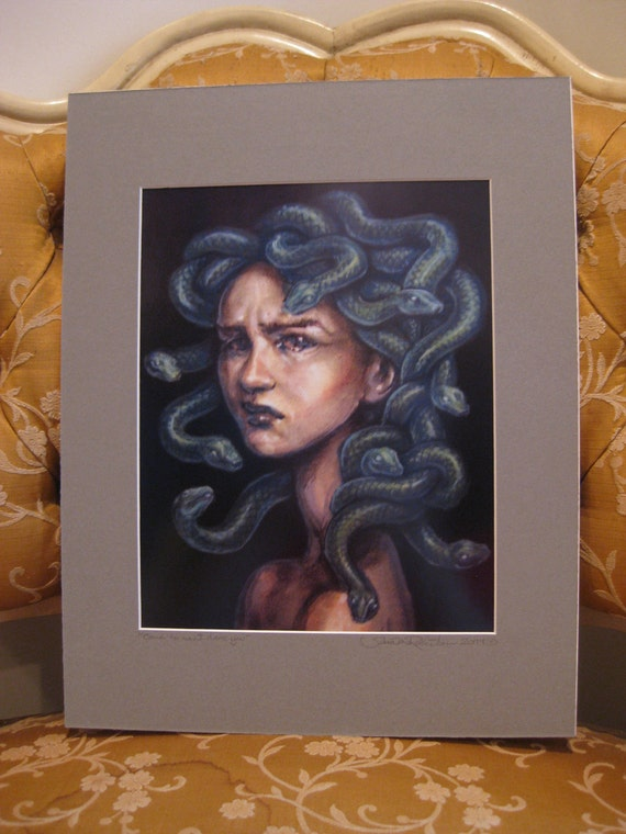 "Medusa - Print of Original Painting, matted to 11"" x 14"""