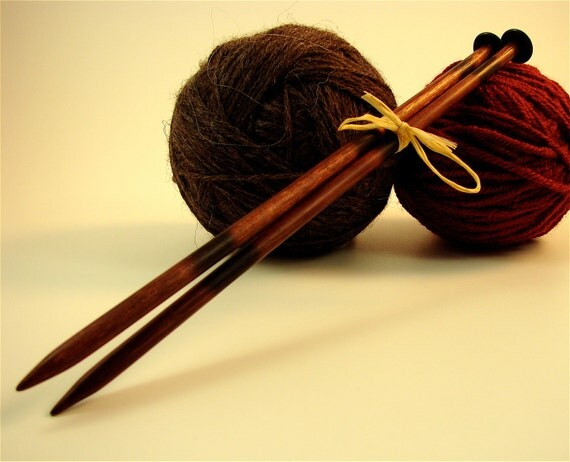 """Hand carved wooden Knitting needles size 10.5(6.5mm) and 11"""" long. Made from reclaimed Purple heart wood"""