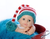 Stripe Turquoise Dr. Seuss Baby Hat - Ready to Ship - Size Newborn to 4 weeks..