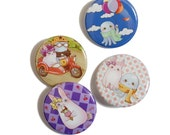 SALE! Octopus & Bunny Button Set (4 designs)