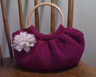 Crochet Fat Bottom Bag Purse Dark Pink Fuschia Magenta Lined Pockets Flower Pin Wood Handles