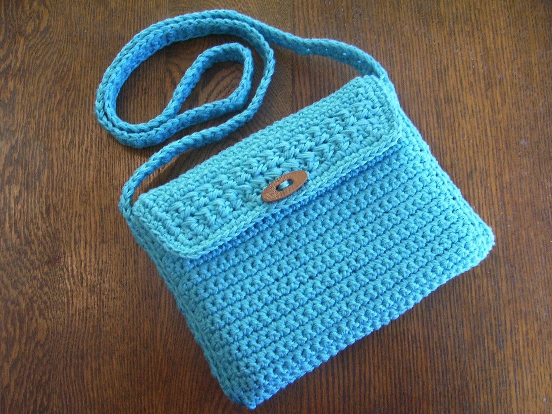Crossbody Messenger Bag Crochet Purse by kathyscrochetcloset