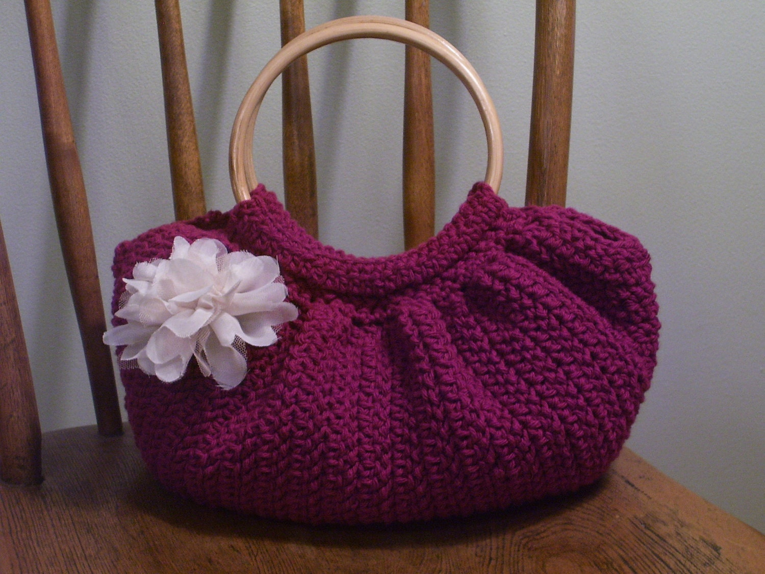 Crochet Fat Bottom Bag Purse Dark Pink Fuschia Magenta Lined