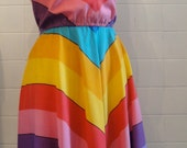 1980s 80s size small RAINBOW chevron STRIPED light cotton summer flowy DRESS perfect for summer