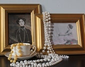 Lot of 4 vintage Daisy Buchanan PEARL necklaces long 1920s FLAPPER style gold and white so Great Gatsby