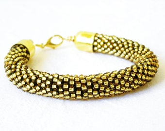 Golden jewelry/Golden bangle/High fashion Bracelet//Beaded rope bracelet/Crocheted bangle
