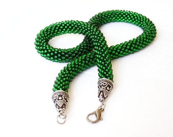 Emerald Green Choker/Rustic Jewelry/Forest green Necklace/Fall Color Necklace/Green beaded Accessories/Beaded Rope Necklace