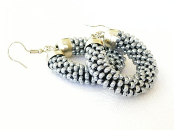 Gray Earrings/Rope Earrings/Drop Earrings/Beaded jewel/Crocheted accessories/Bridesmaids accessories