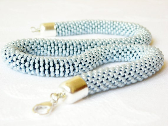 Beaded Rope Necklace/Pastel jewel/Powder Blue necklace/Short necklace/Blue Fiber Necklace. Made to Order