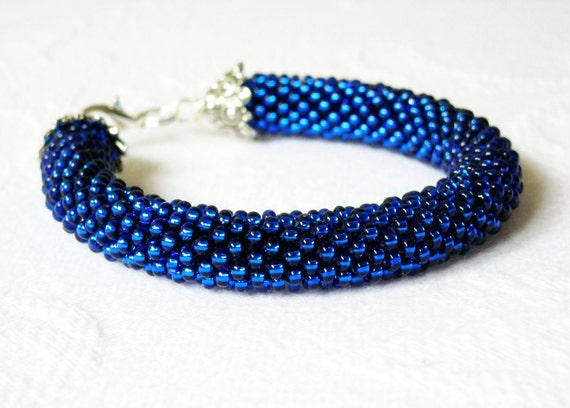 Monaco Blue Bracelet Beaded Crochet. Made to Order