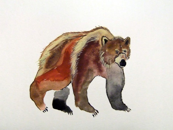Original Watercolor Painting-Grizzly Bear