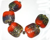 Handmade Lampwork Beads Orange Raku