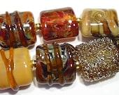 Handmade Lampwork Beads Earthen Amber Hues  Nuggets