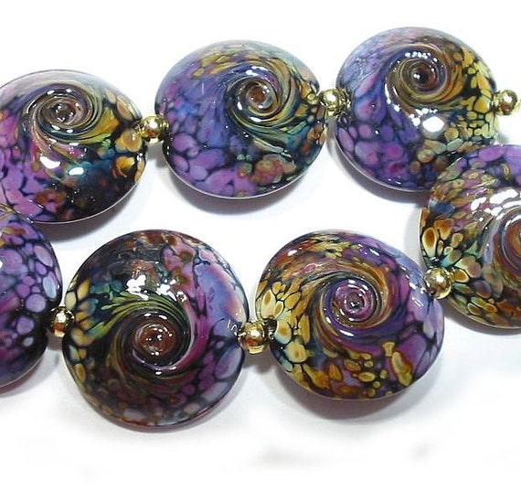 Handmade Glass Lampwork Beads Rakuli Twist