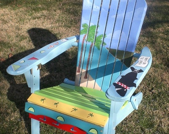 Hand Painted Adirondack Chair with an Ocean and Island theme