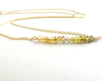 Gold Filled Necklace Green Garnet Gemstone Bar Handmade Dainty Jewelry