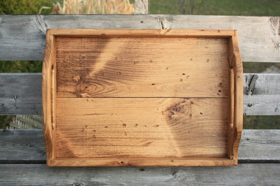 Rustic Handmade Wooden Serving Tray - Aged Pine