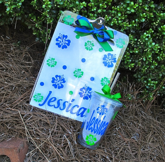 Personalized Clipboard and Tumbler Combo Gift Set