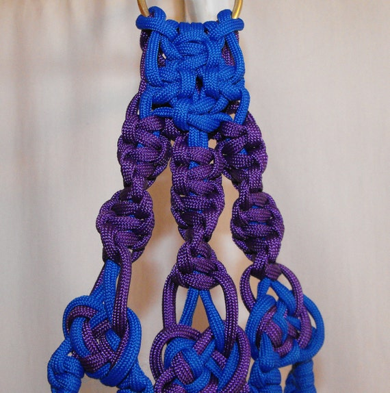 Striking Purple & Blue Paracord Plant Hanger.