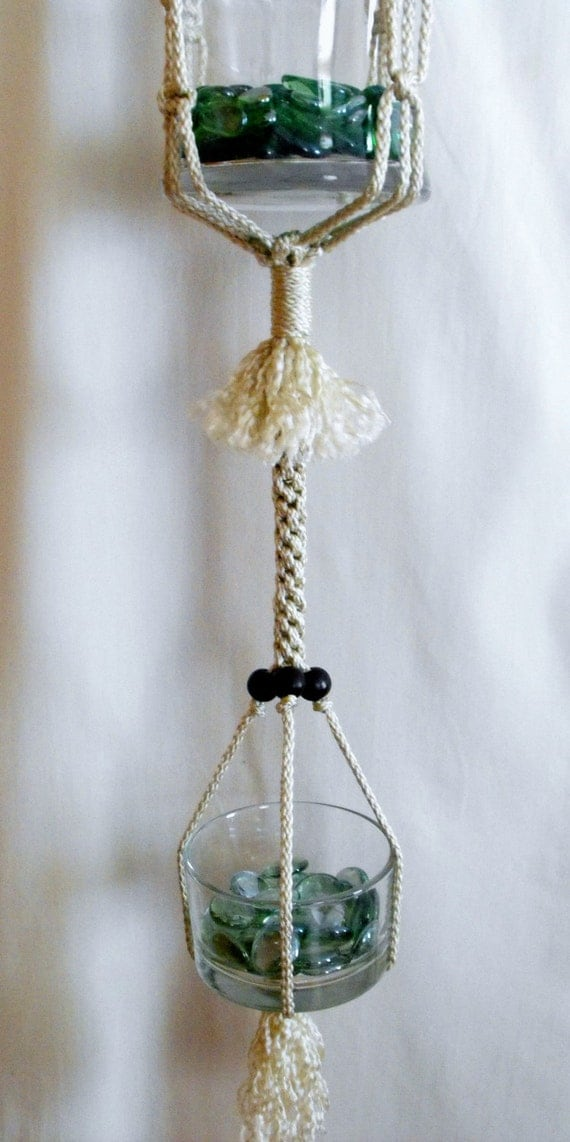 Natural Tan Double Plant Hanger with Wood Beads