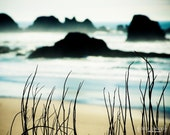 Dreamy Beach Scenic -Oregon Coast Sea Shore -Ocean Nature - Fine Art Photograph Print -Home Decor -Wall Art -Cyan Black & White