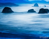 Oregon Coast - Canon Beach -Ocean Beach Waves -Nature Blue Black -Haystack Rock - Ecola State Park -  Home Decor Fine Art Print - Photograph