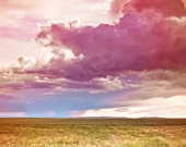 Spring Storm Coming - Sunset Clouds Landscape Nature Rain - Red Orange Magenta Pink Yellow - Photography - Home Decor  Fine Art Print