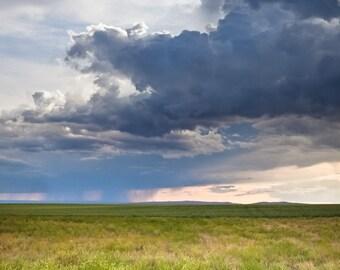 Spring & Summer Storm - Rain Clouds Landscape Weather - Wall Art - Home Decor Fine Art Photograph Print - Blue Green Yellow