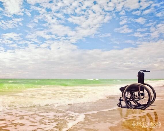 Beach Ocean Sky Nature Landscape -Inspiration Wheelchair Freedom Handicap -Wall Art -Home Decor -Fine Art Photograph -8x10 -11x14 -16x20