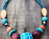 Turquoise and brown wooden bead necklace