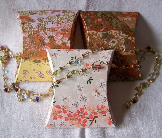 Spring Flowers, Handmade, Washi Paper Covered Pillow Boxes, Gift Card Size, Set of 3,